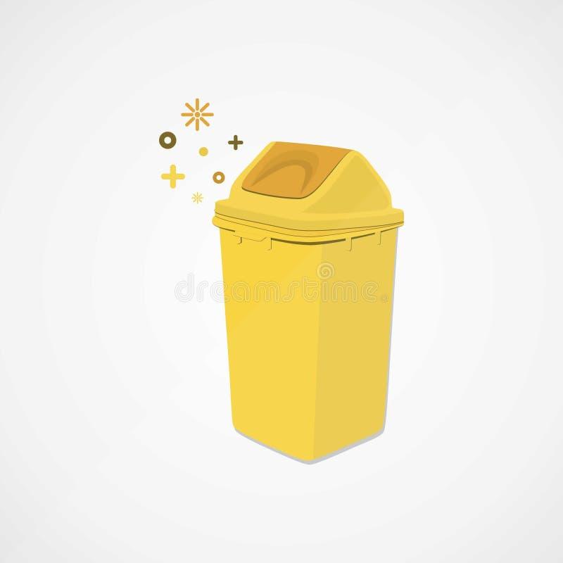 Amarillo del bote de basura ilustración del vector