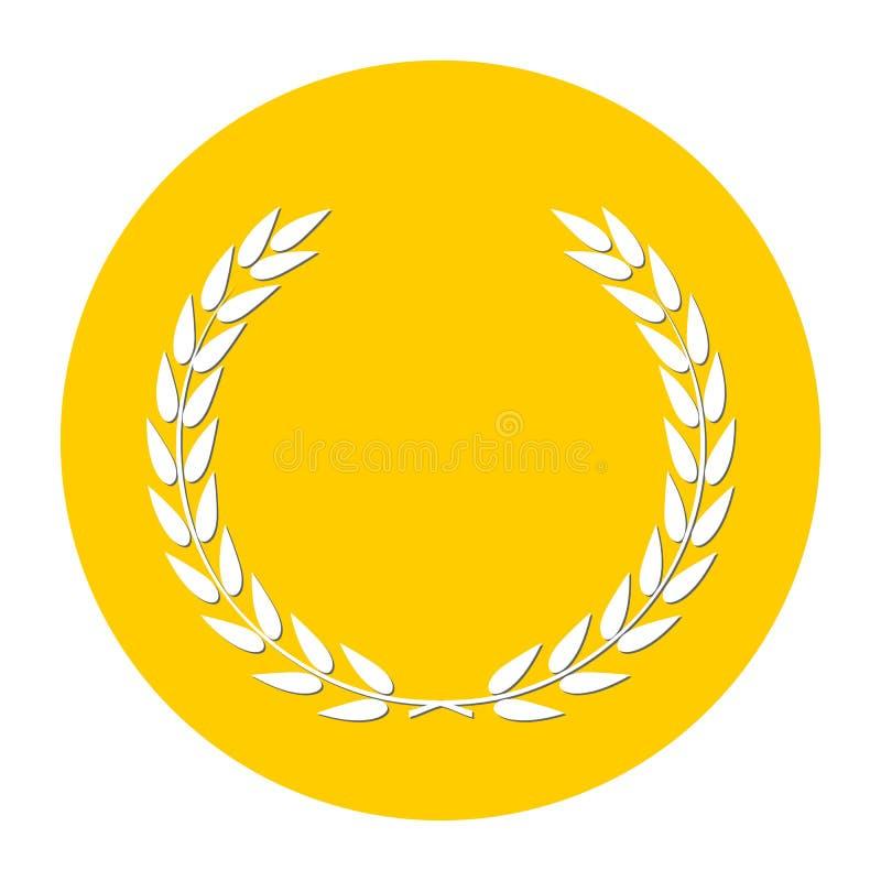 Amarillo del icono del laurel stock de ilustración