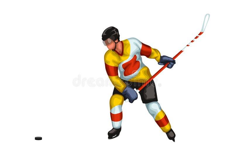 Amarillo del jugador de hockey stock de ilustración