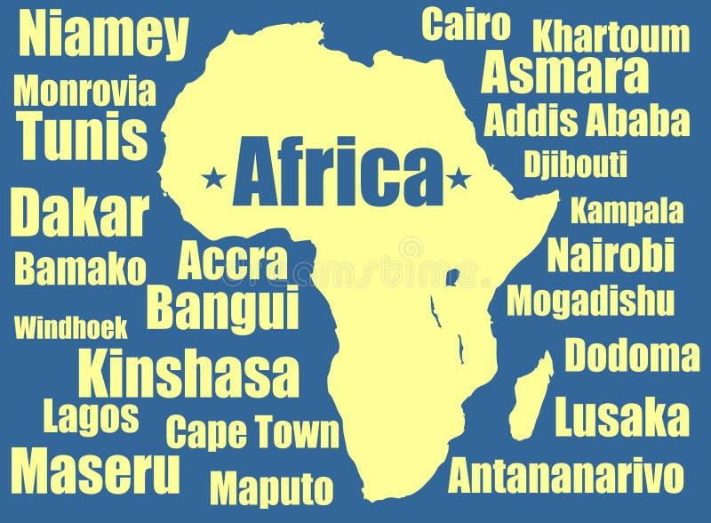 Amarillo del mapa del vector de África en el fondo blanco Alto ejemplo detallado libre illustration