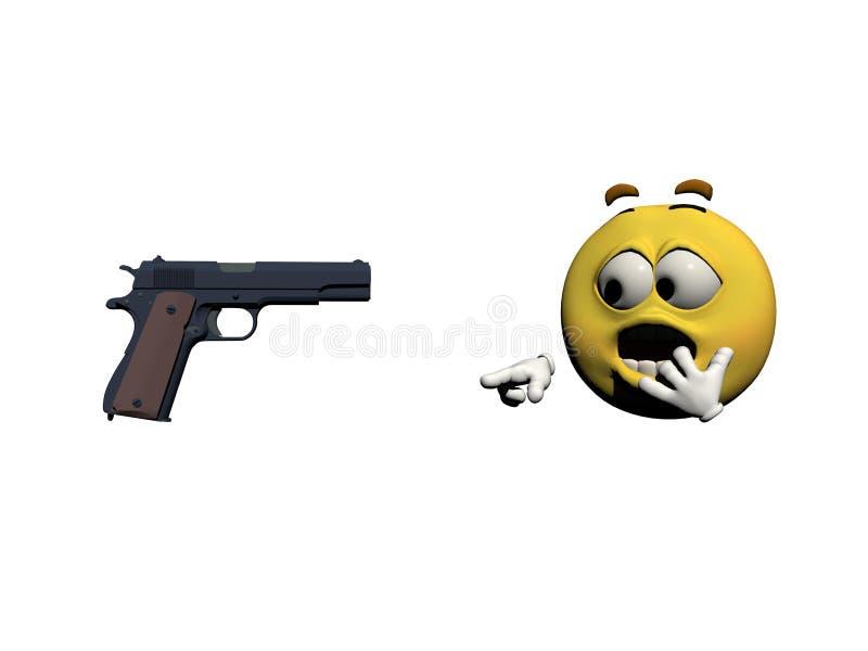Amarillo del miedo del Emoticon - 3d rinden stock de ilustración