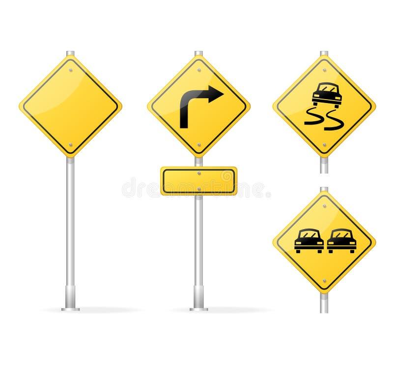 Amarillo en blanco de la señal de tráfico del vector stock de ilustración
