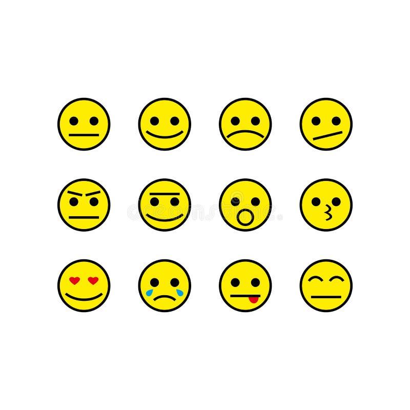 Amarillo fijado sonrisas de los iconos del vector ilustración del vector