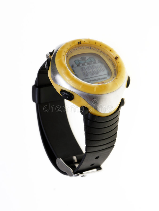 Amarillo impermeabilice el reloj fotos de archivo