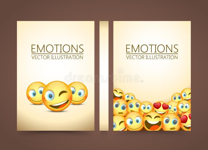 Amarillo moderno que ríe tres Emoji, emociones fondo, ejemplo del vector ilustración del vector