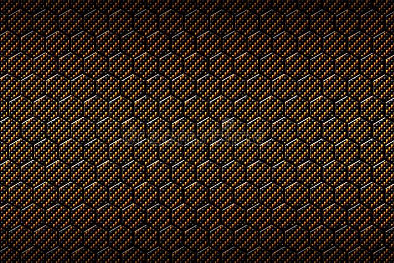 Amarillo o modelo del hexágono de la fibra de carbono del oro stock de ilustración
