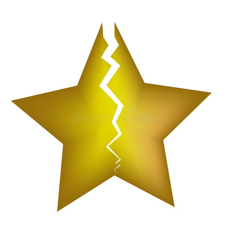 Amarillo quebrado de la estrella en el fondo blanco imagen de archivo