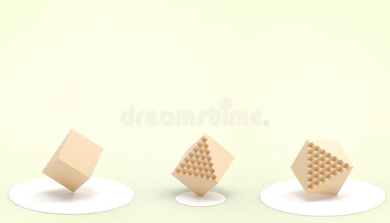 Amarillo rectangular de la caja de las matemáticas y de la tecnología y un concepto creativo del negocio simple y hermoso en fond libre illustration