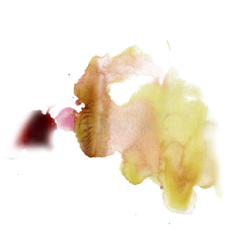 Amarillo rojo del color de la textura del movimiento de la pintura de los movimientos de la acuarela con el espacio para su propi libre illustration