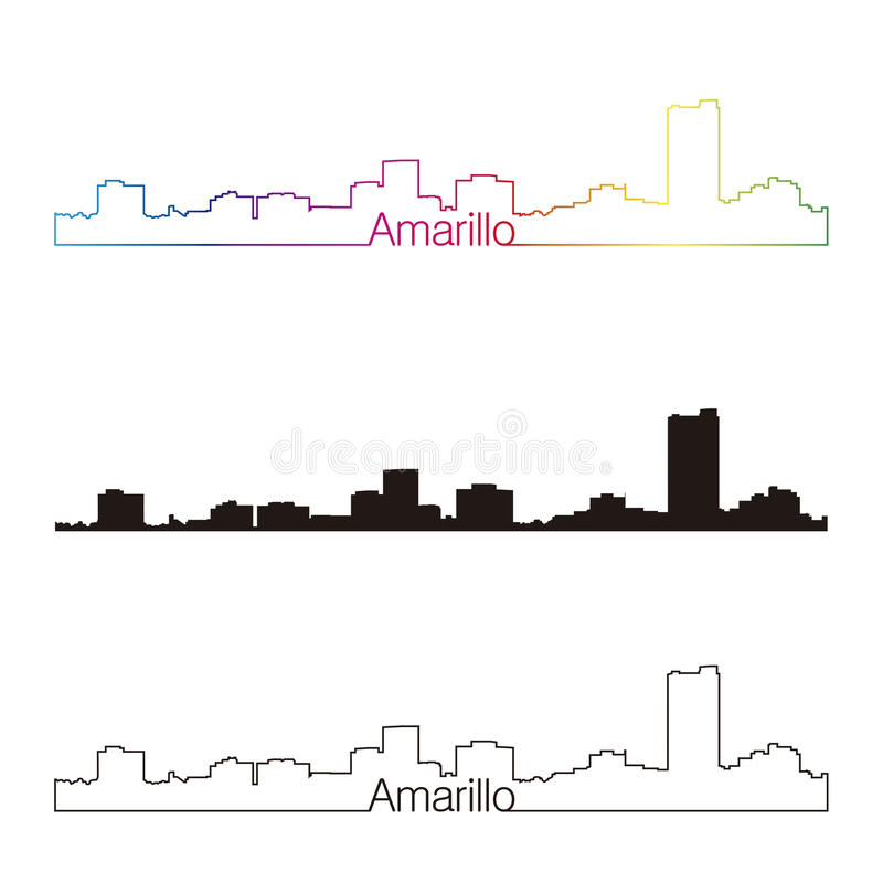 Amarillo skyline. In orange background in editable vector file vector illustration