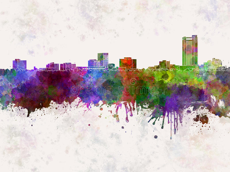 Amarillo skyline in watercolor background. Amarillo skyline artistic abstract in watercolor background vector illustration