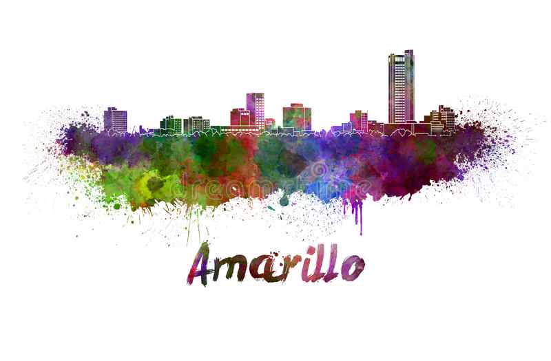 Amarillo skyline in watercolor. Splatters with clipping path stock illustration