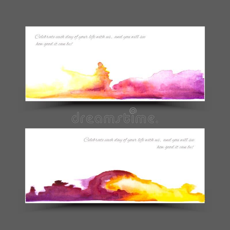 Amarillo violeta de la acuarela de la bandera foto de archivo libre de regalías