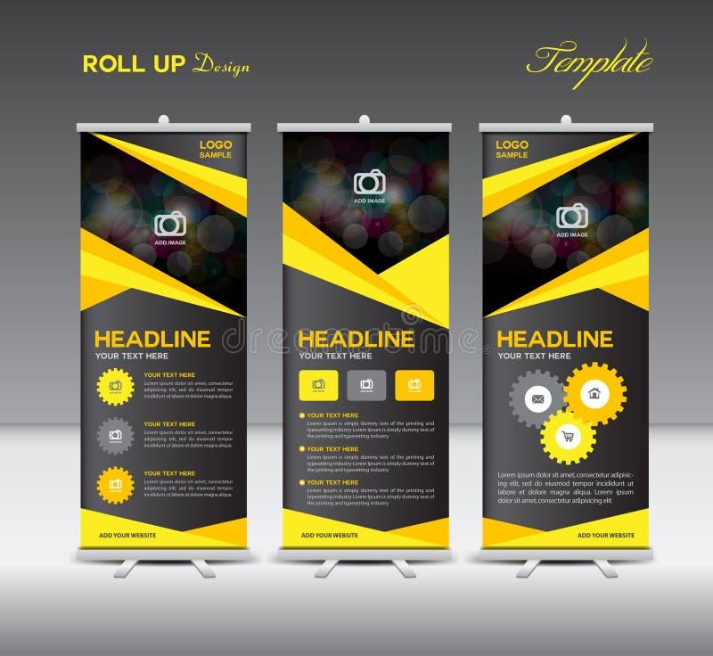 Amarillo y negro ruede para arriba los gráficos de la plantilla y de la información de la bandera, stan stock de ilustración