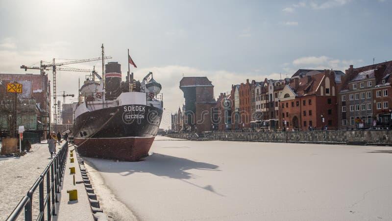"""Amarração velha do navio no tempo de inverno no """"SK de GdaÅ imagem de stock royalty free"""