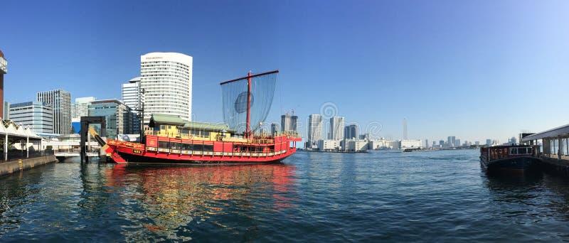 Amarrage traditionnel de bateau à la baie de Tokyo image libre de droits