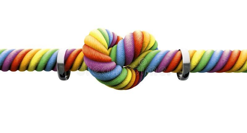 Amarre o nó com casamento entre homossexuais dos anéis fotografia de stock