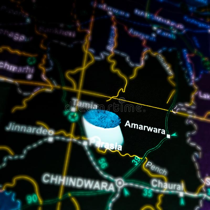 Amarwara city in madhya Pradesh in India located on geographical location map. Pindari, glacier, text, written, barnala, name, displayed, jalandhar, panjab royalty free stock image