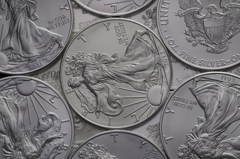Amas d'argent Eagle Coins des Etats-Unis (US) photo stock