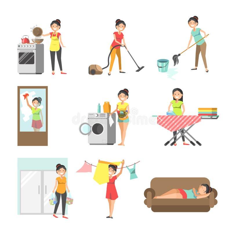 Amas de casa en el lavado del trabajo, limpieza, cocinando iconos planos del vector ilustración del vector