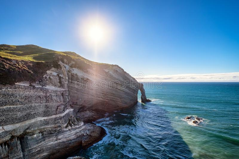 Amasonen vaggar bildande av kustlinjen på uddeavskedet i Nya Zeeland royaltyfri bild