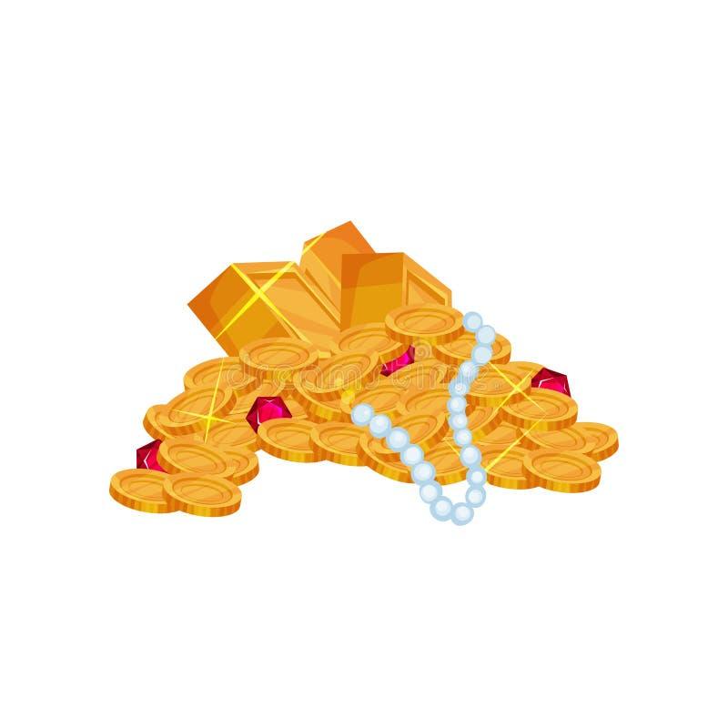 Amassez avec le collier de perle, les rubis rouges, les pièces d'or et les bijoux chers de lingots Symbole de la richesse Vecteur illustration stock