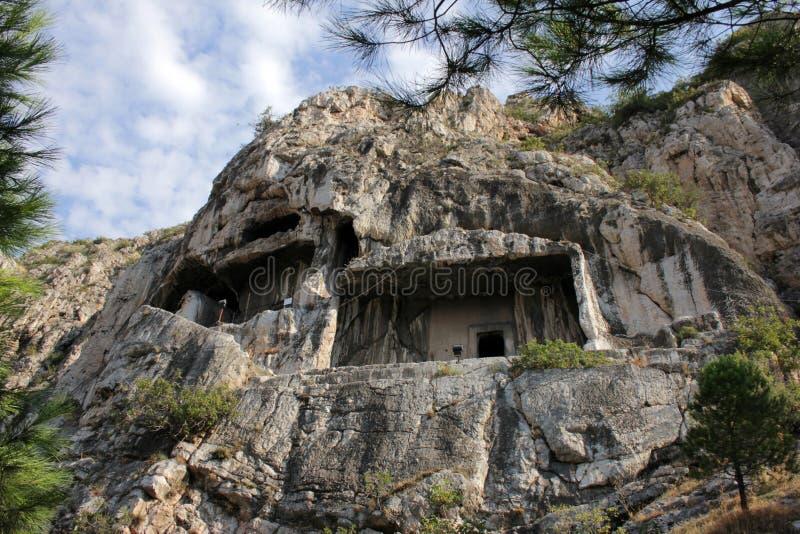 Amasya. Tombs of the kings of Pers Pontus history of Amasya stock photography