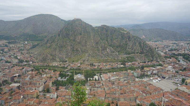Amasya von der Spitze der Stadt lizenzfreie stockfotografie