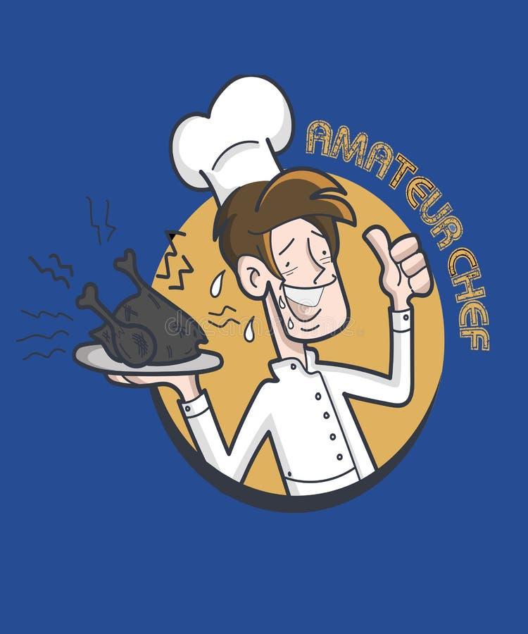 Amatörmässig kock med kalkon eller höna på uppläggningsfatdiagram royaltyfri illustrationer