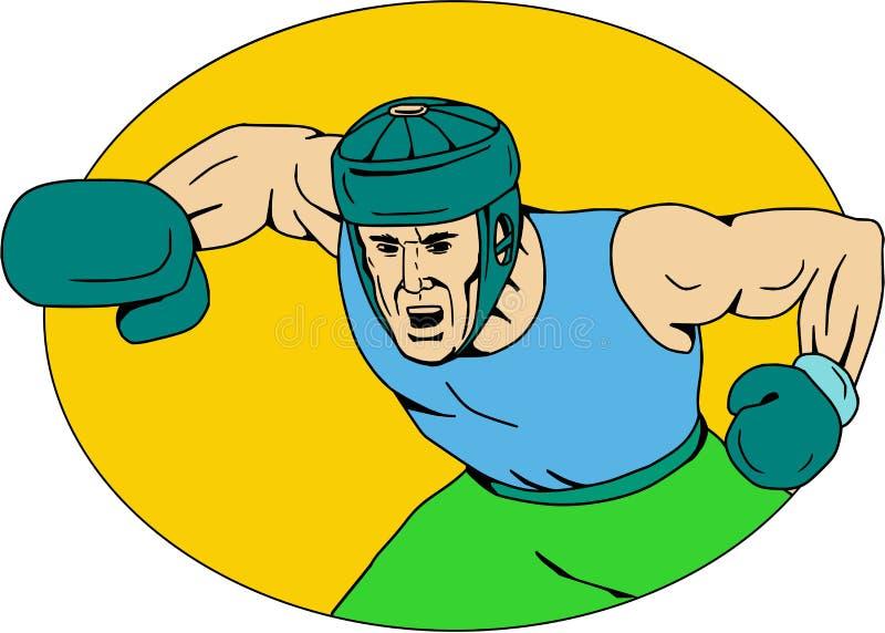 Amatörmässig teckning för knockout- stansmaskin för boxare stock illustrationer
