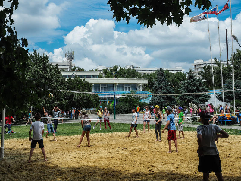 Amateur beach volleyball competition in the children's recreation camp in Anapa in Krasnodar region of Russia. stock photos