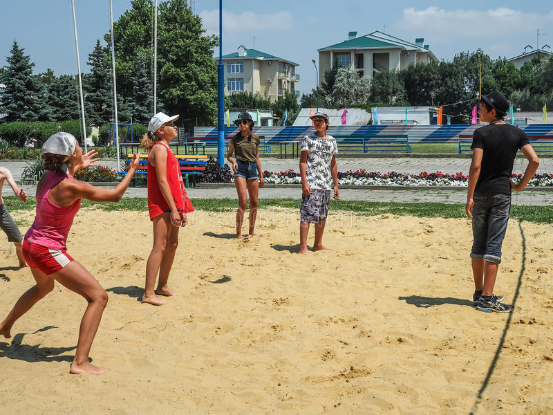Amateur beach volleyball competition in the children's recreation camp in Anapa in Krasnodar region of Russia. stock photo
