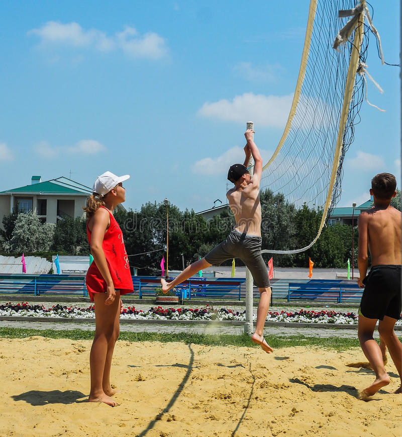 Amateur beach volleyball competition in the children's recreation camp in Anapa in Krasnodar region of Russia. stock images