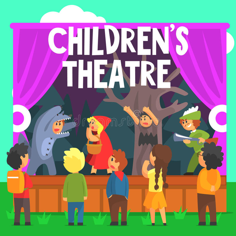 Amateur Children Theatre Performance Of A Red Hood Fairy Tale royalty free illustration