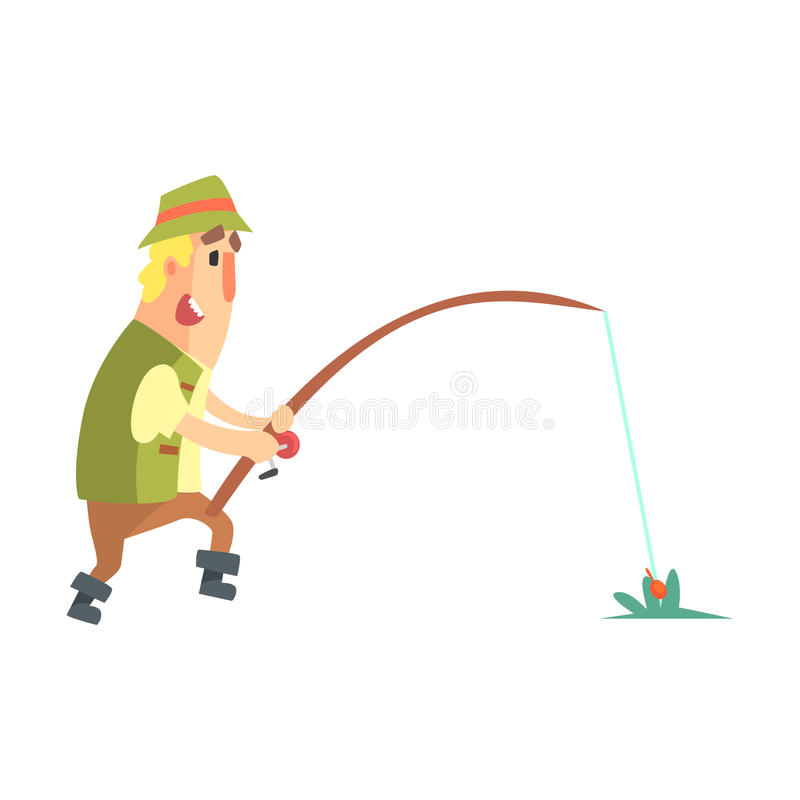 Free Amateur Fisherman In Khaki Clothes Seeing The Fish To Take The Bait Cartoon Vector Character And His Hobby Illustration Stock Photo - 82183120