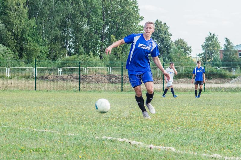 Amateur football championship in Kaluga region of Russia. Kaluga region hosts an annual regional championship with Amateur football competitions. Teams from royalty free stock photography