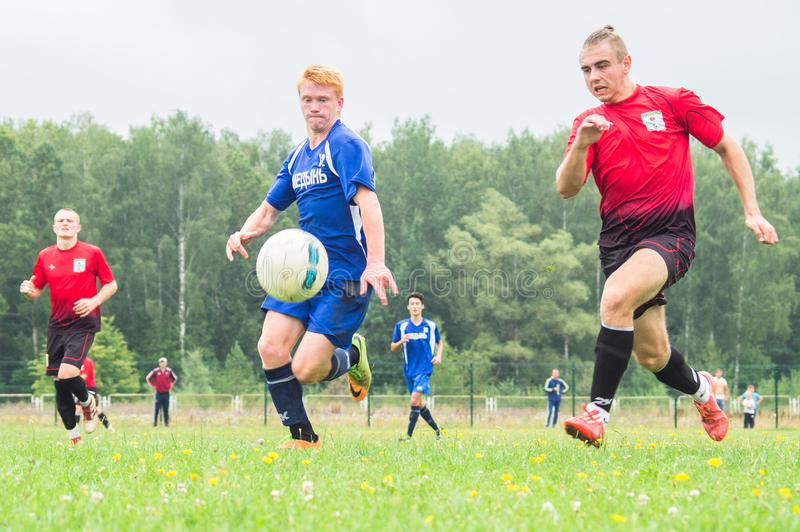 Amateur football championship in Kaluga region of Russia. Kaluga region hosts an annual regional championship with Amateur football competitions. Teams from royalty free stock images