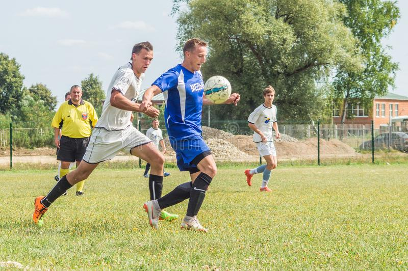 Amateur football championship in Kaluga region of Russia. Kaluga region hosts an annual regional championship with Amateur football competitions. Teams from stock photo