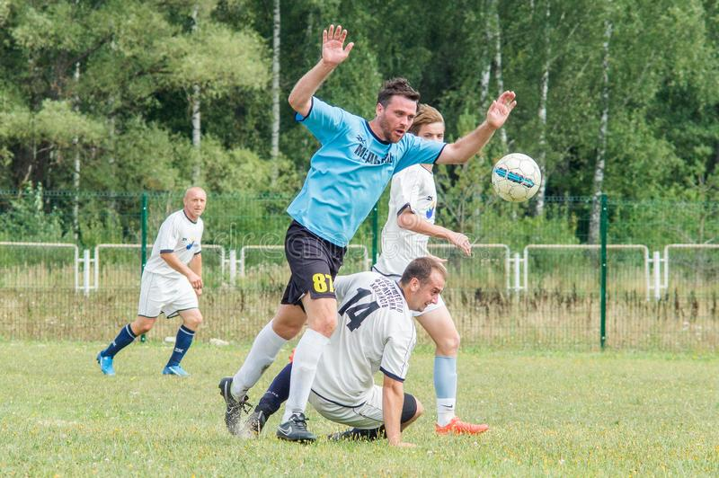Amateur football championship in Kaluga region of Russia. Kaluga region hosts an annual regional championship with Amateur football competitions. Teams from royalty free stock photo