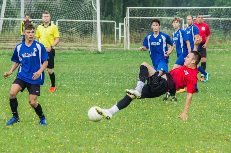 Amateur football championship in Kaluga region of Russia. Kaluga region hosts an annual regional championship with Amateur football competitions. Teams from stock photography