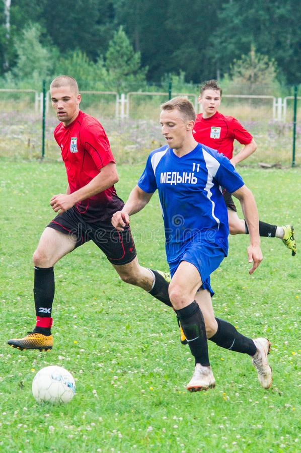 Amateur football championship in Kaluga region of Russia. Kaluga region hosts an annual regional championship with Amateur football competitions. Teams from royalty free stock image