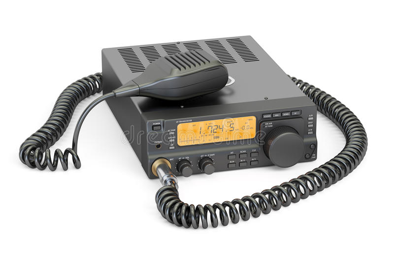 Amateur radio transceiver with push-to-talk microphone switch, 3. D rendering on white background stock illustration