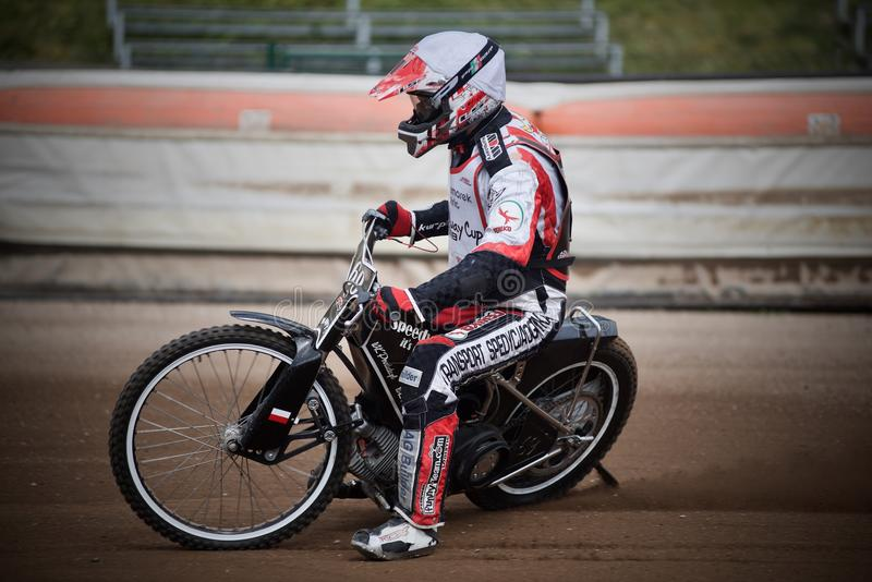 Amateur speedway racer during training in Liberec Czech Republic royalty free stock image