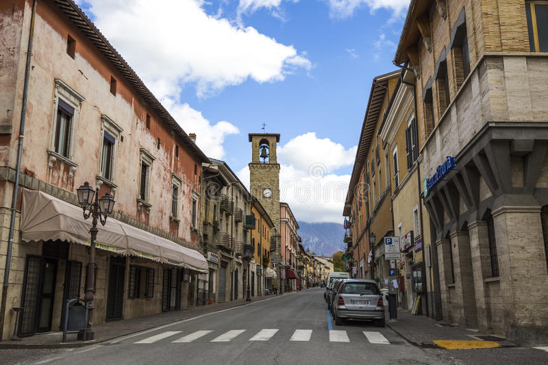 Amatrice en härlig stad i landskapet av Rieti, i Italien royaltyfria bilder