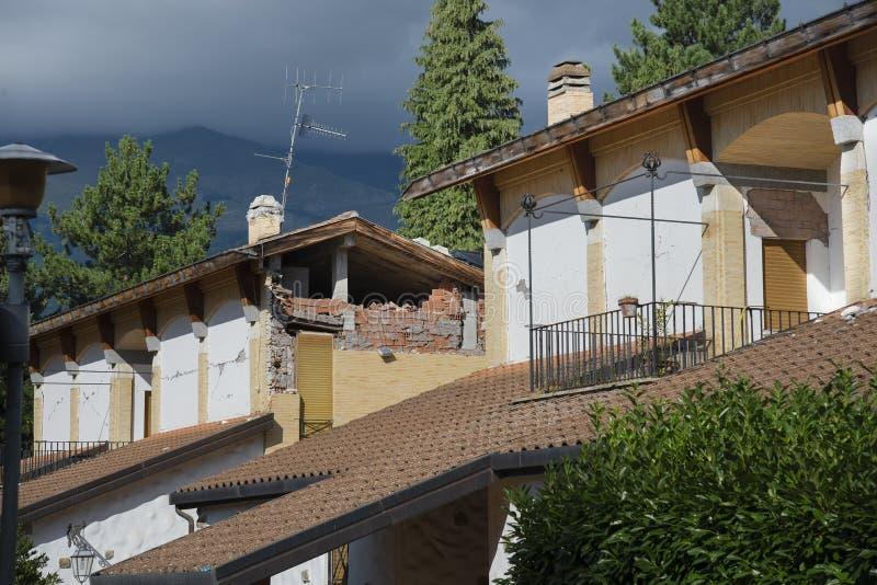 Amatrice - l'Italie, blocaille due au tremblement de terre le 2016 image stock