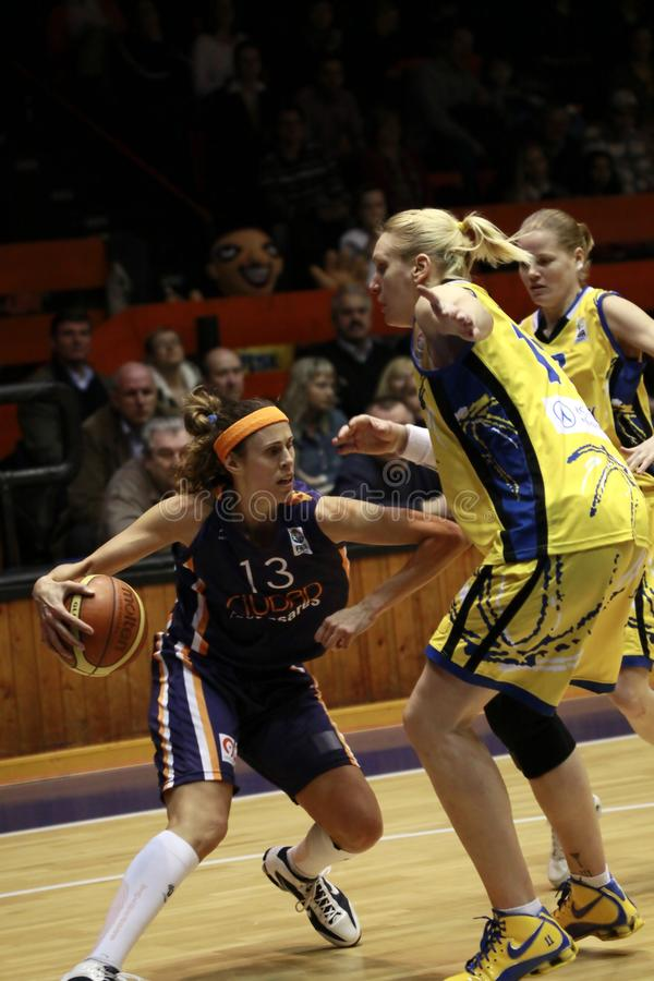 Amaya Valderomo - estrela de basquetebol espanhola imagem de stock royalty free