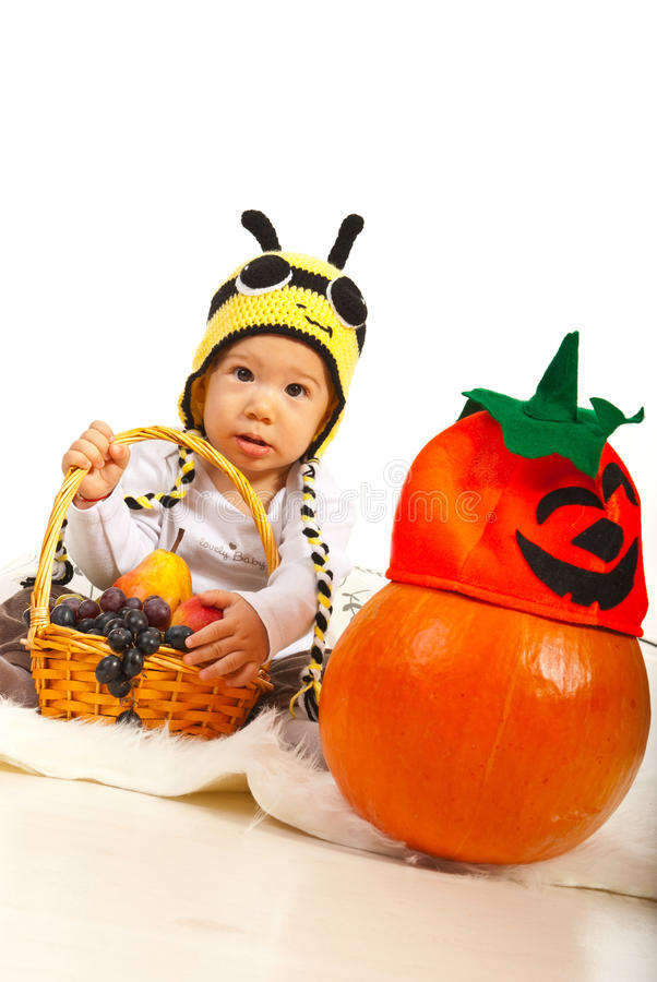 Download Amazed baby in bee hat stock image. Image of pretty, amazed - 34129333