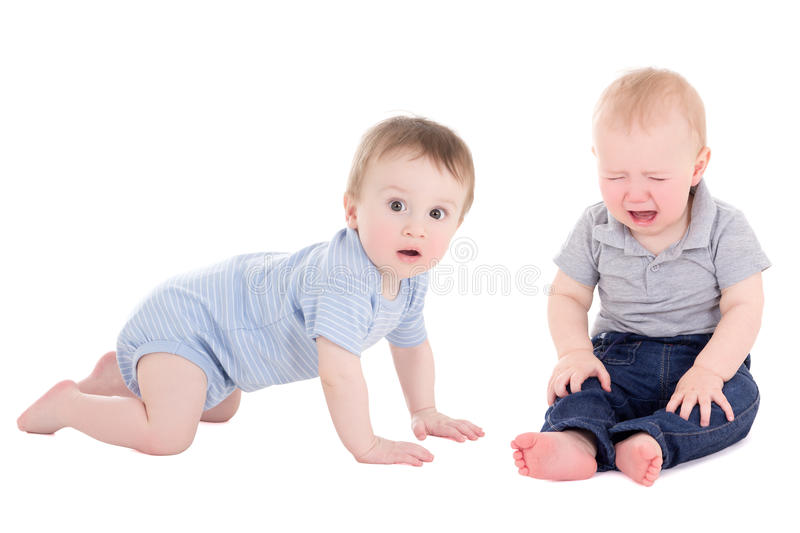 Amazed baby boy toddler and his friend crying on white. Amazed baby boy toddler and his friend crying isolated on white background stock images