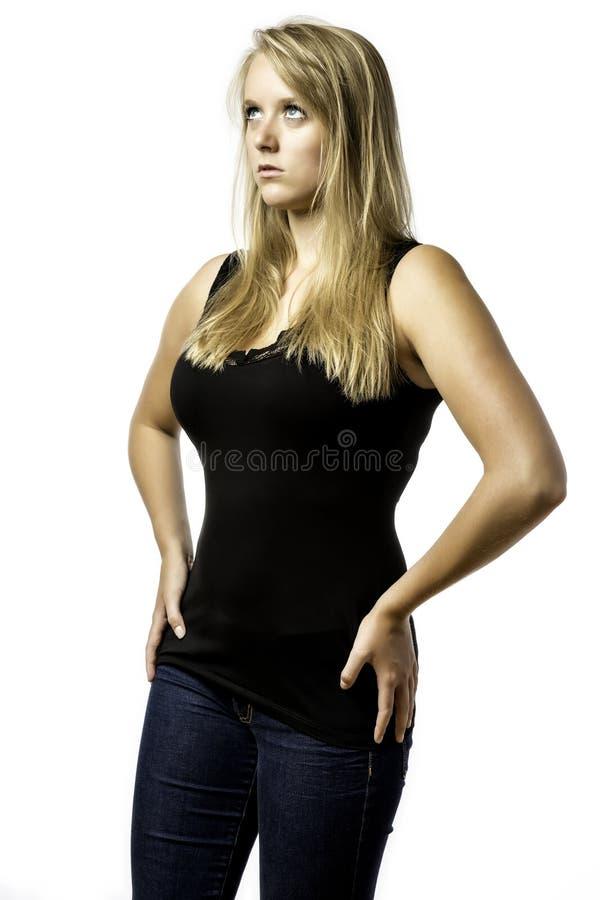 Amazed Blonde Girl With Blue Eyes Looks Upwards Stock Photography