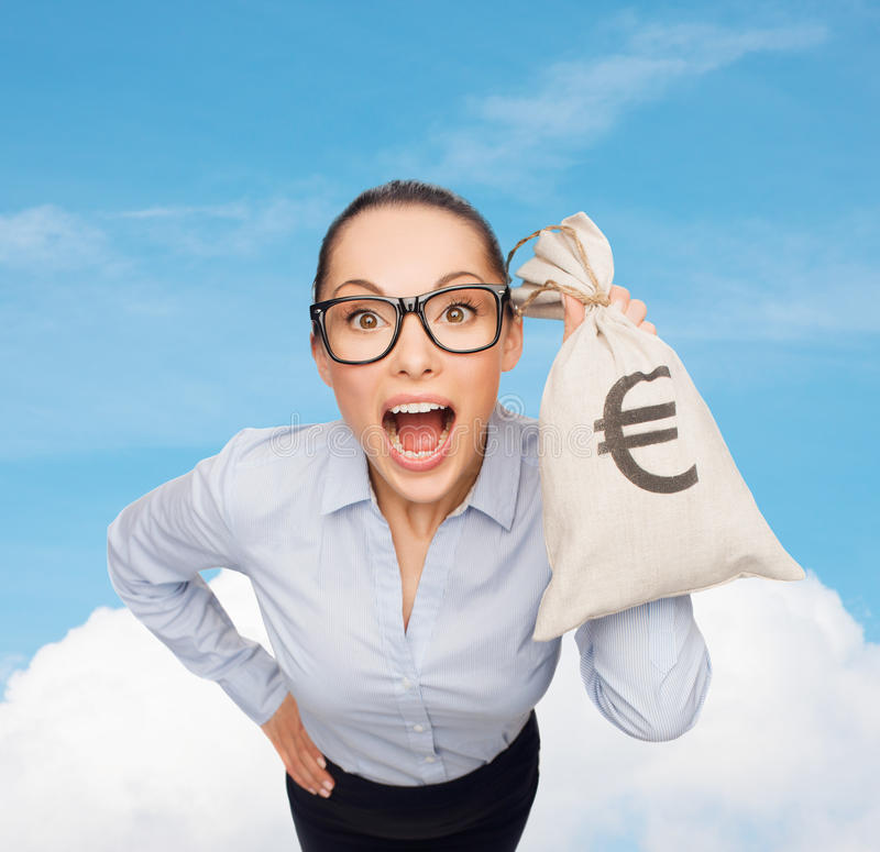 Download Amazed Businesswoman Holding Money Bag With Euro Stock Image - Image of funny, entrepreneur: 37159985
